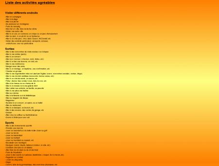 Liste des activités agréables - Dépression,...