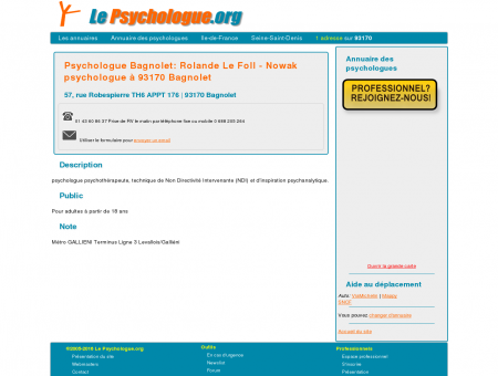 Psychologue Bagnolet: Rolande Le Foll -...