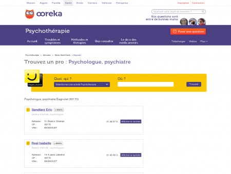 Psychologue, psychiatre Bagnolet 93170 -...