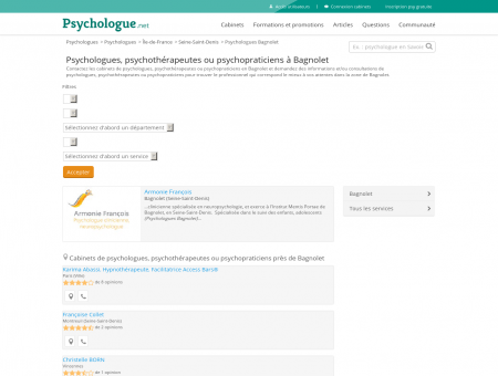 Psychologues Bagnolet - Psychologue.net