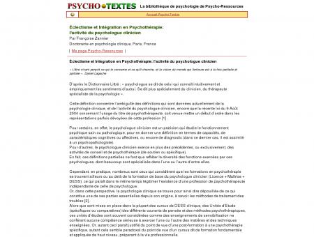 Activité du Psychologue clinicien - Bottin des ...