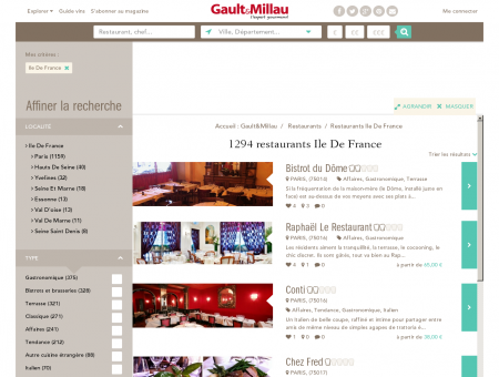 Restaurants Ile De France - Gault et Millau