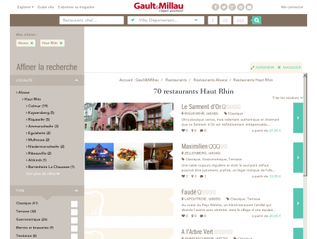 Restaurants Haut Rhin - Gault et Millau