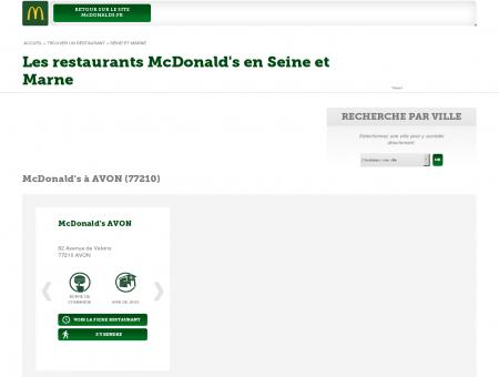 Les restaurants McDonald's en Seine et Marne