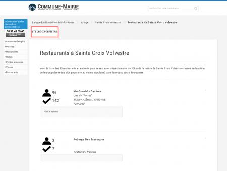 Restaurants à Sainte Croix Volvestre (09230)