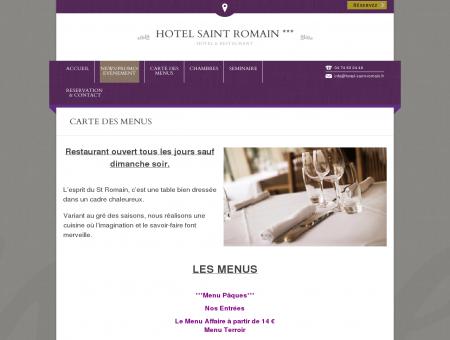 CARTE DES MENUS - hotel saint romain *** |...