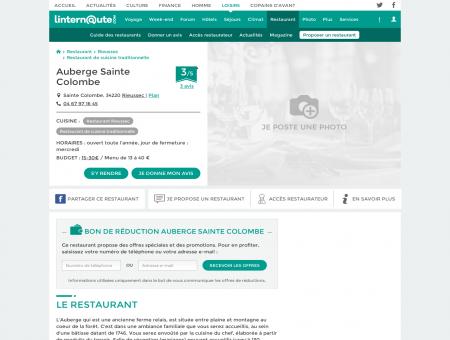 Auberge Sainte Colombe, restaurant de...