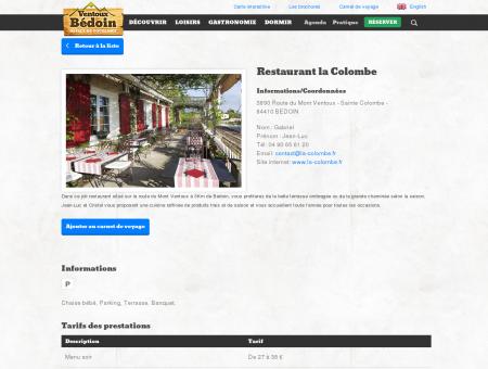 Restaurant la Colombe - BEDOIN - Détail