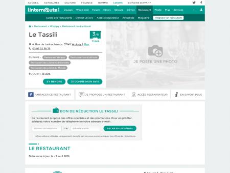 Le Tassili, restaurant de cuisine traditionnelle à...