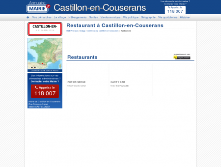 Restaurant Castillon-en-Couserans, la Mairie...