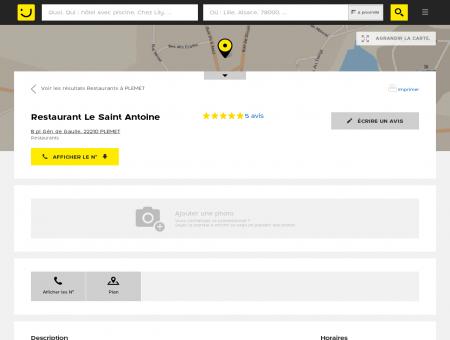 Restaurant Le Saint Antoine Plémet (adresse,...