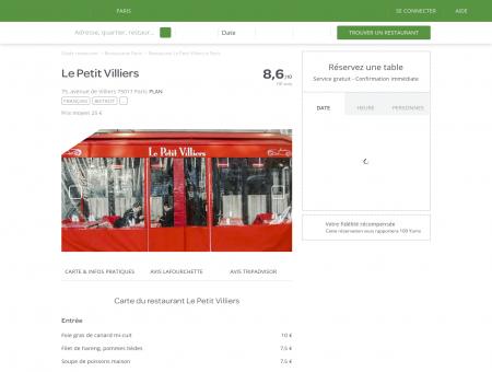 Restaurant Le Petit Villiers à Paris 17ème :...