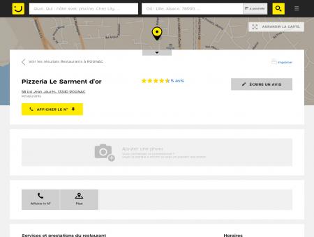 Pizzeria Le Sarment d'or Rognac (adresse,...