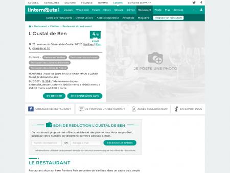L'Oustal de Ben, restaurant de cuisine...