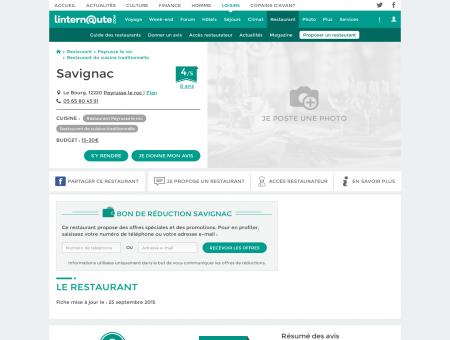 Savignac, restaurant de cuisine traditionnelle à...