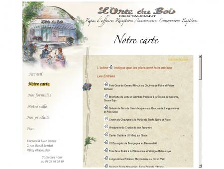 Carte du restaurant L'Orée du Bois, à Vélizy ...