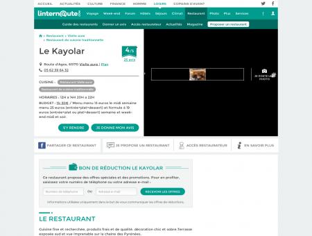 Le Kayolar, restaurant de cuisine traditionnelle...