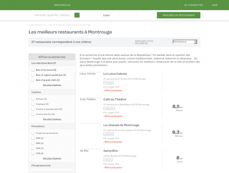 Restaurants Montrouge - Meilleurs restaurants de Montrouge.