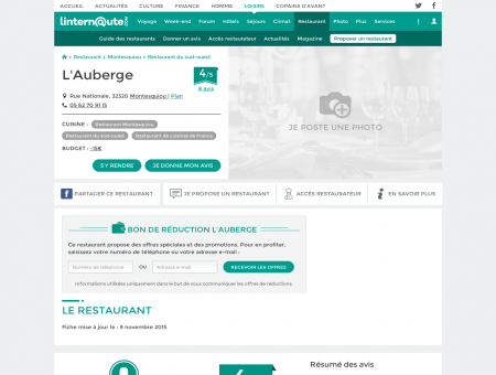 L'Auberge, restaurant de cuisines de france à...