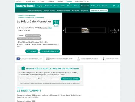 Le Prieuré de Monestier, restaurant de cuisine ...