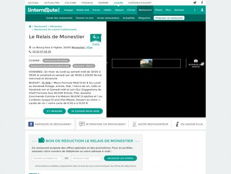 Le Relais de Monestier, restaurant de cuisine ...