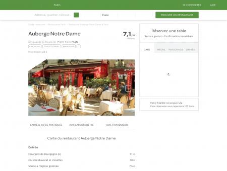 Restaurant Auberge Notre Dame à Paris 5ème...