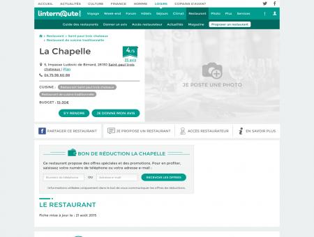 La Chapelle, restaurant de cuisine...