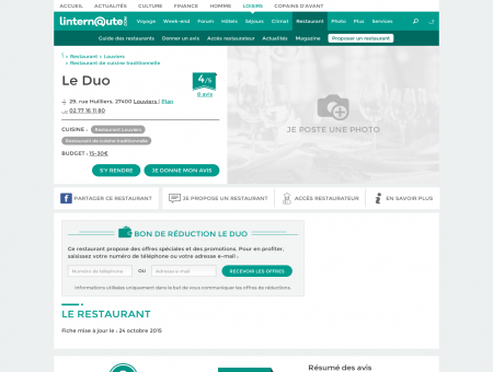 Le Duo, restaurant de cuisine traditionnelle à...