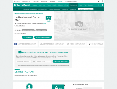 Le Restaurant De La Mer, brasserie - bistrot au...