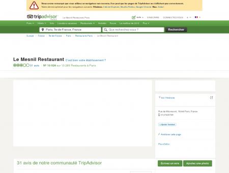 Le Mesnil Restaurant, Paris - Restaurant Avis...
