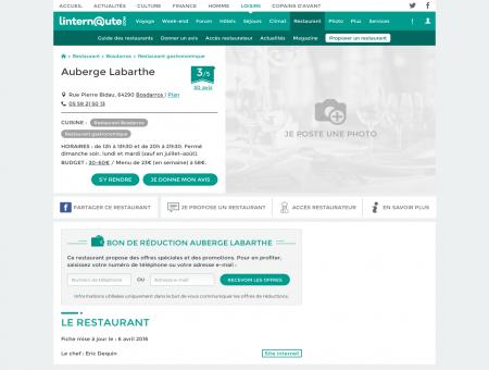 Auberge Labarthe, restaurant gastronomique...