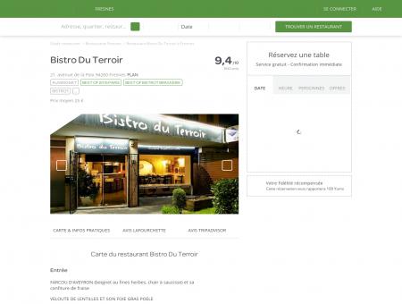 Restaurant Bistro Du Terroir à Fresnes - menu,...