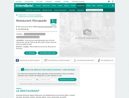 Restaurant l'Escapade, restaurant de cuisine ...