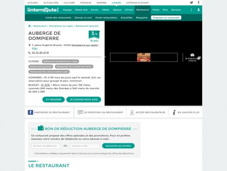 AUBERGE DE DOMPIERRE, restaurant lyonnais...