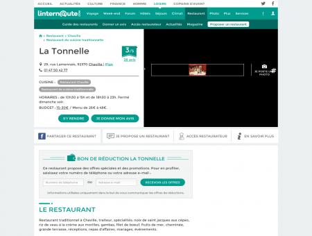 La Tonnelle, restaurant de cuisine traditionnelle...