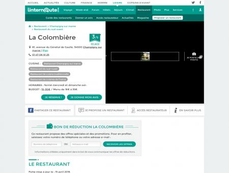 La Colombière, restaurant de cuisine...