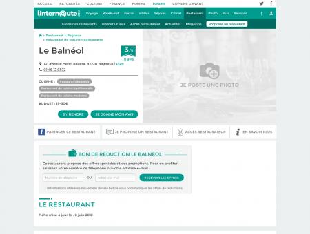 Le Balnéol, restaurant de cuisine traditionnelle...