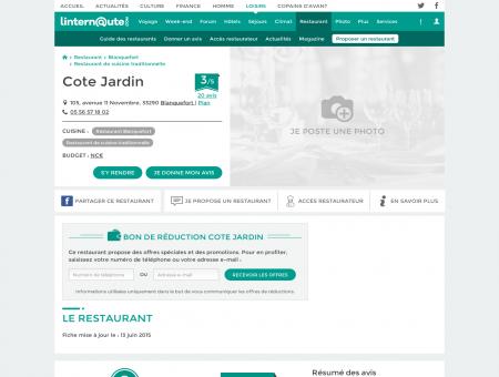 Cote Jardin, restaurant de cuisine traditionnelle...