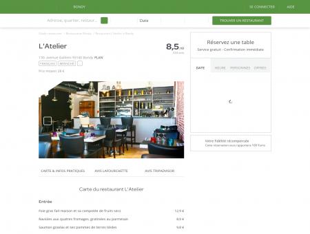 Restaurant L'Atelier à Bondy - menu, avis, prix...