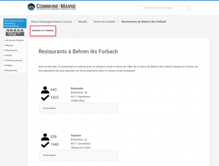 Restaurants à Behren lès Forbach (57460)