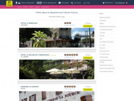 Hôtel dans la Haute-Vienne. Restaurants logis...