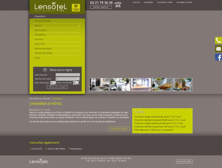 Chambres d'hôtel - Hotel Lens Lensotel :...