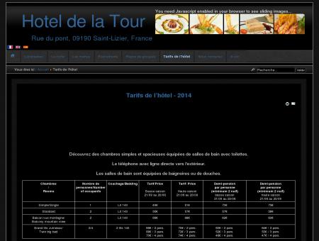 Hotel de la Tour - Tarifs de l'hôtel