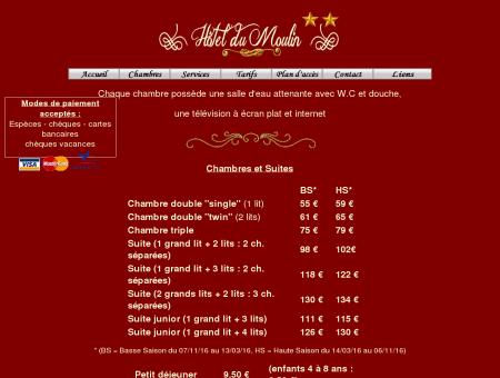 Tarifs - Hotel du Moulin Saint Aignan sur Cher