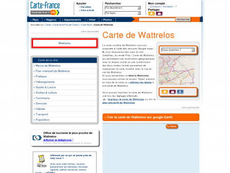Carte et plan de Wattrelos 59150 : Hôtel,...