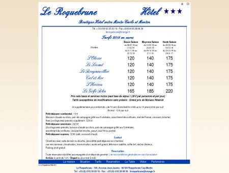 Hotel le Roquebrune - Tarifs