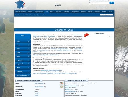 VAUX - Carte plan hotel village de Vaux 31540...