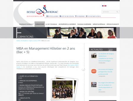 MBA en Management Hôtelier - Ecole de...
