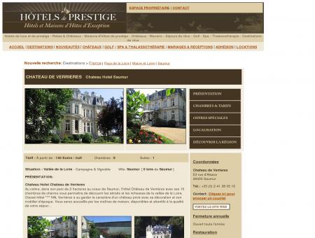 Hotel Chateau de Verrieres Saumur Hotel...