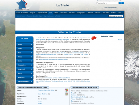 LA TRINITE - Carte plan hotel ville de La Trinité...